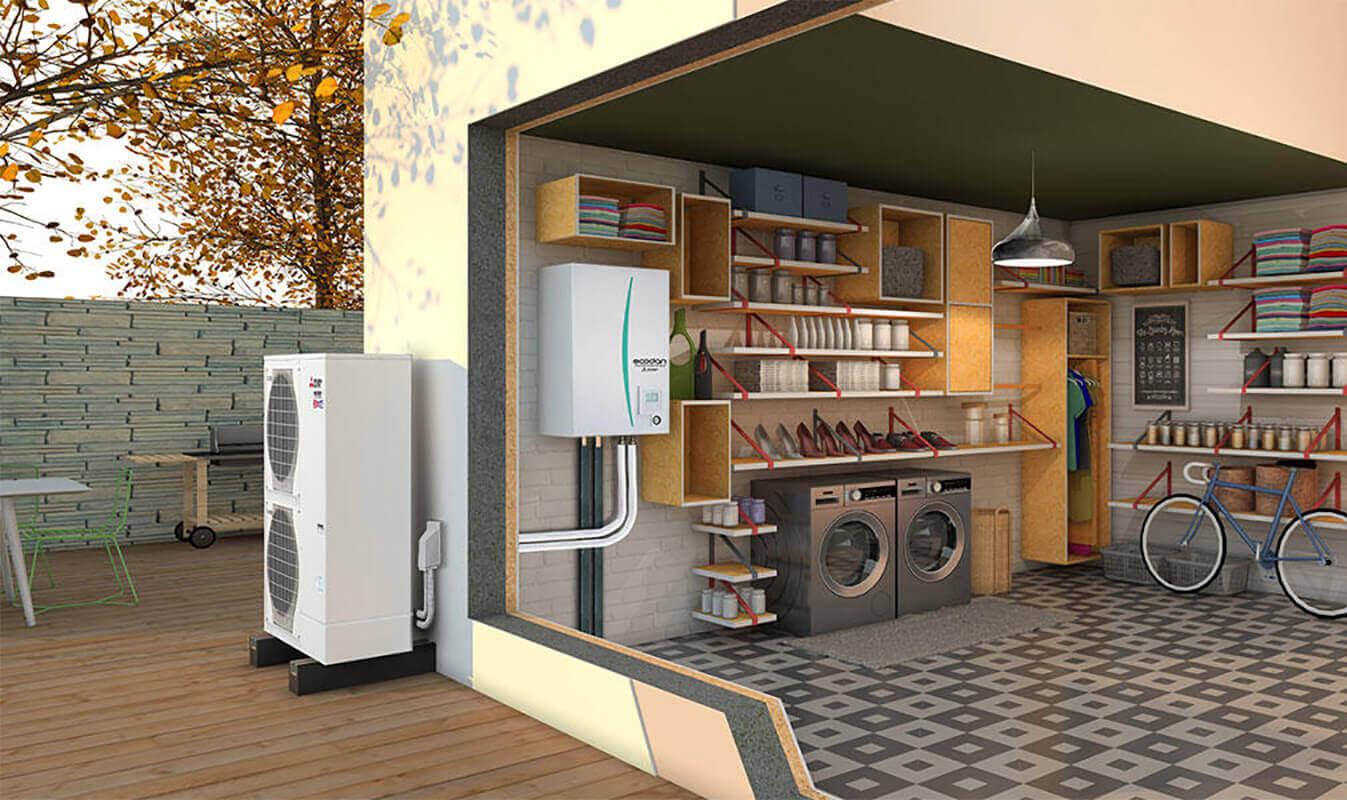 Installation Pompe à chaleur air eau Mitsubishi - Sols Energies Bains Saint Jean de Védas